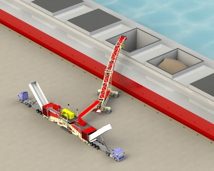Dual Feeder & Cambered Boom Shiploader with Radial Arms & Track Bogie